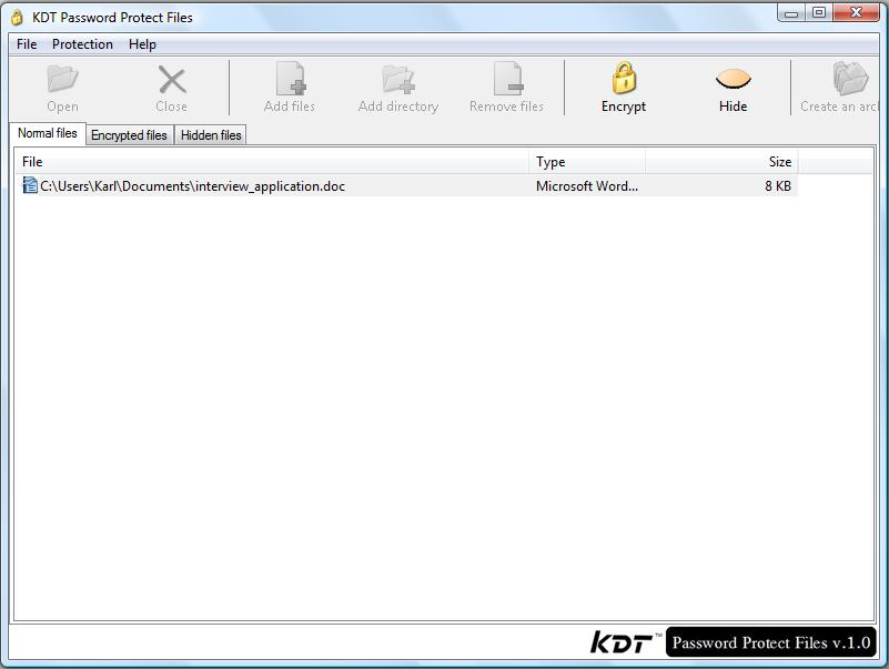 Screenshot of KDT Password Protect Files 1.10