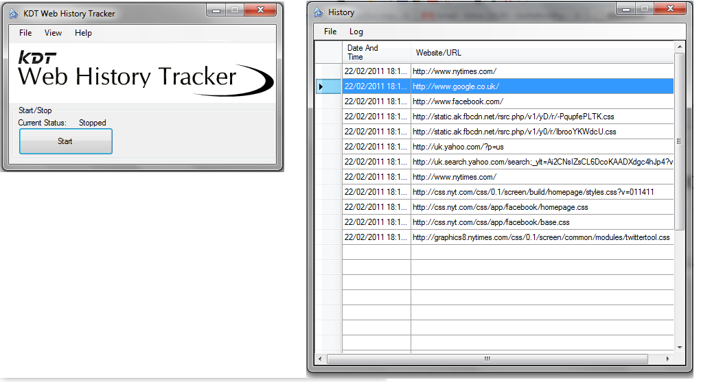 Click to view KDT Web History Tracker 1.1.0 screenshot