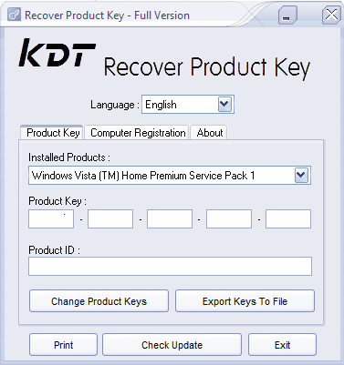 Click to view KDT Recover Product Key 1.1.2 screenshot