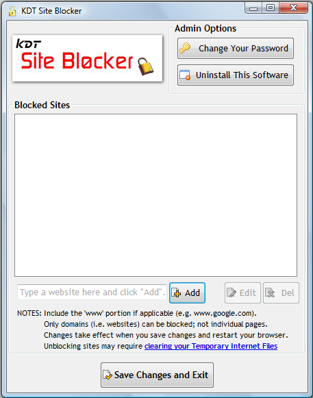 Click to view KDT Site Blocker 2.1 screenshot